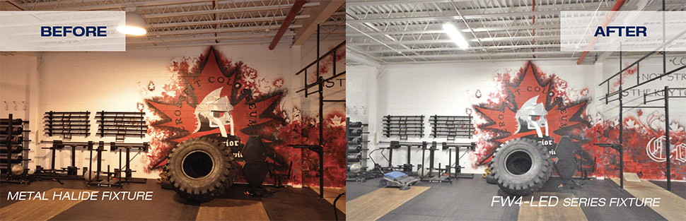 Before and after of Crossfit Colosseum. Metal halide fixture lights up left and FW4 LED light on right side.